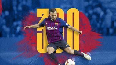 برشلونة يهنيء ألبا بالمباراة رقم 300