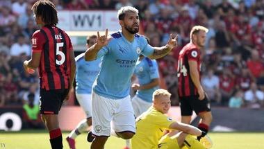 """أغويرو يتألق ويقود """"سيتي"""" للمركز الثاني خلف ليفربول"""