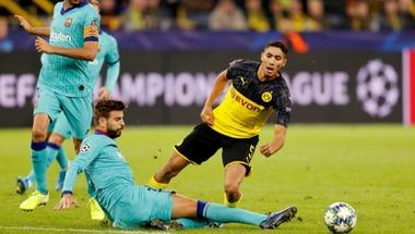 """""""أضعنا الفوز"""".. حكيمي ظهير دورتموند يلوم إهدار الفرص أمام برشلونة"""